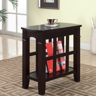 Furniture of America Larza Espresso End Table with Bottom Shelf