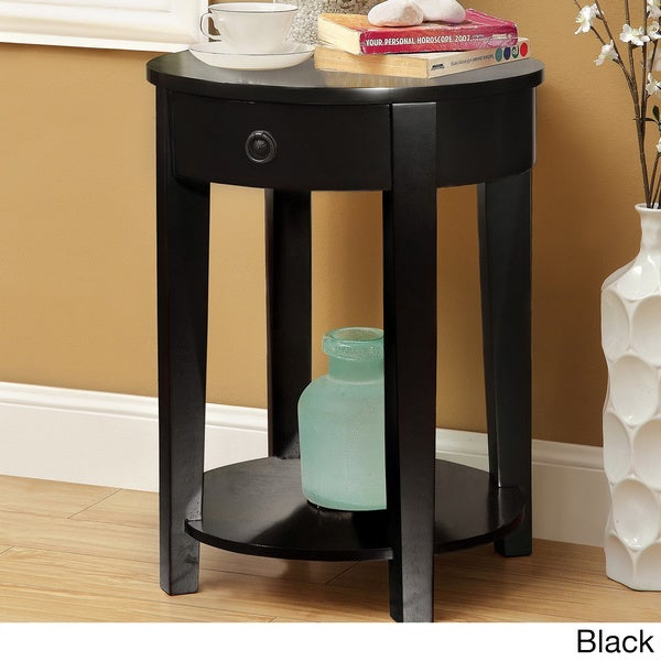 Furniture of america venzoli round top side table with for Americas best storage