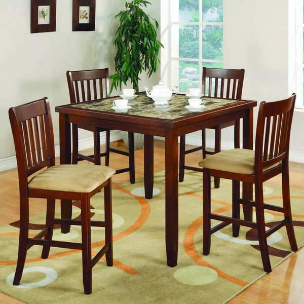 Cherry Finish 5 Piece Counter Height Dining Set