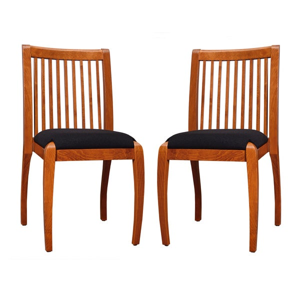Sienna Cherry Black Vertical Slat Dining Chairs Set Of 2 Overstock Shop