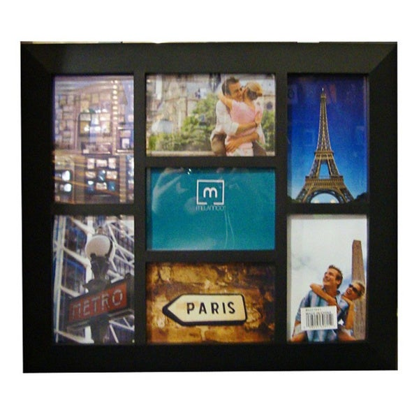 Collage Black Plastic 7-opening Photo Frame