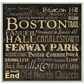 Carole Stevens 'Boston Landmarks' Square Typography Wall Plaque