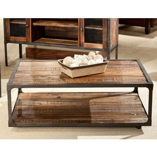 Emerald Laramie Reclaimed Wood Cocktail Table wtih Casters