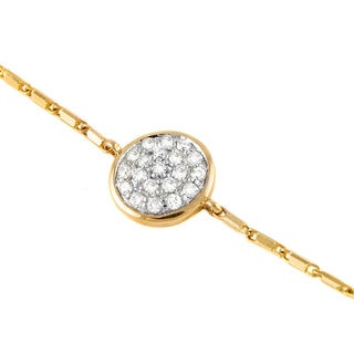 Beverly Hills Charm 14k Gold 1/5ct TDW Diamond Round Station Adjustable Bracelet (H-I, SI2-I1)