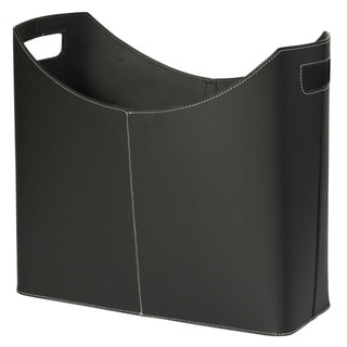 Contemporary Black Leather Magazine Basket