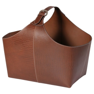 Brown Croc-embossed Leather Magazine Basket