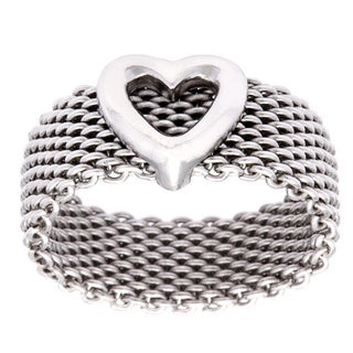.925 Sterling Silver 'Love Inspires All' Mesh Fashion Ring