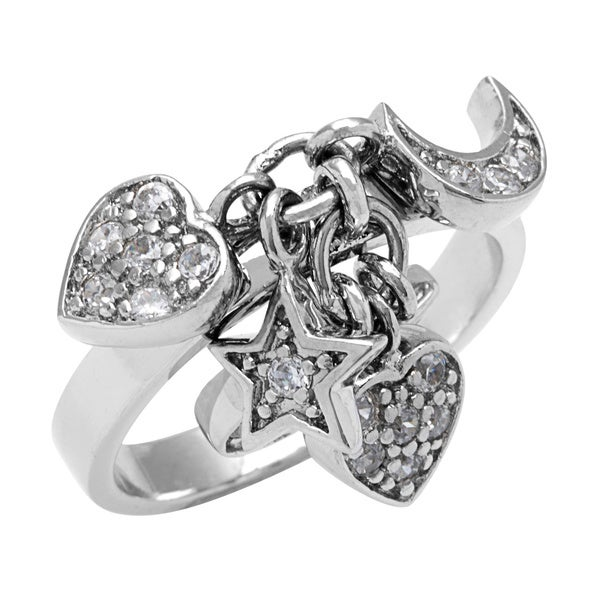 Sterling Silver Cubic Zirconia Heart/ Moon/ Stars Bauble Fashion Ring