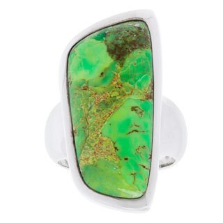 .925 Sterling Silver Green Turquoise Fashion Ring