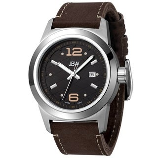 JBW Men's 'Magneto' Brown Leather Strap Black Dial Watch