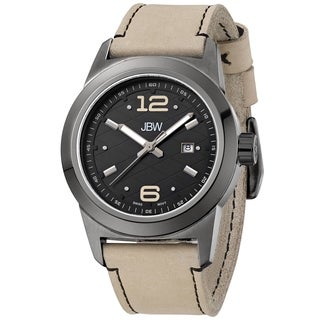 JBW Men's 'Magneto' Tan Leather Strap Gunmetal Stainless Steel Watch