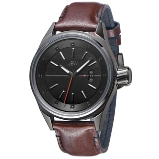 JBW Men's 'Rook' Brown Leather Strap Black Dial Diamond Watch