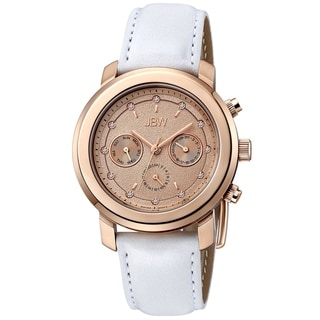 JBW Women's 'Nyla' White Leather Strap Rose Goldplated Dial Watch