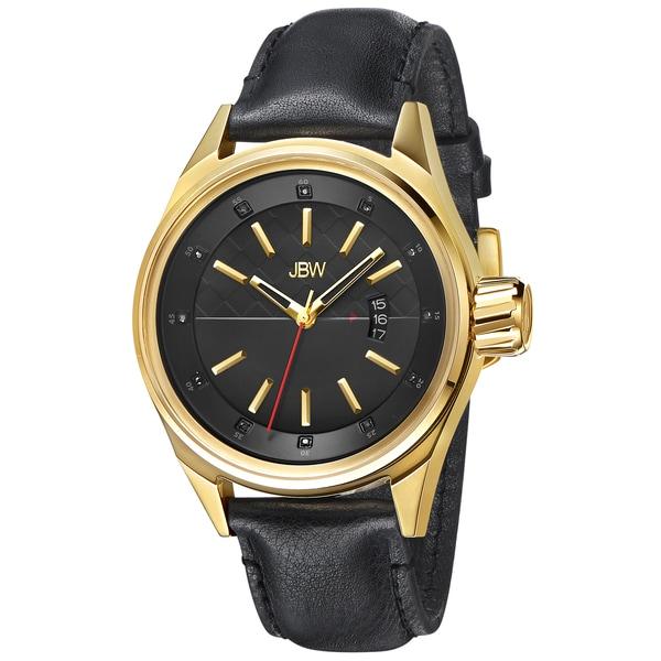 JBW Men's 'Rook' Black Leather Strap Watch