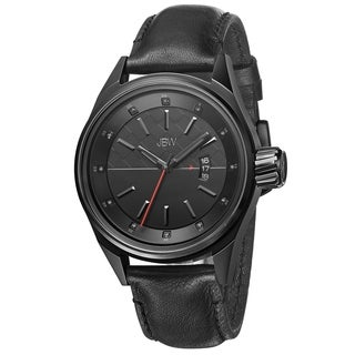 JBW Men's 'Rook' Beveled Dial Black Leather Strap Watch