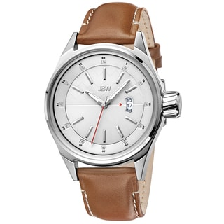 JBW Men's 'Rook' Light Brown Leather Strap Stainless Steel Watch