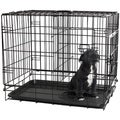 Oxgord Double Door Black Metal Pet Crate