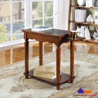 Furniture of America Antique Oak Stella Leatherette Top End Table