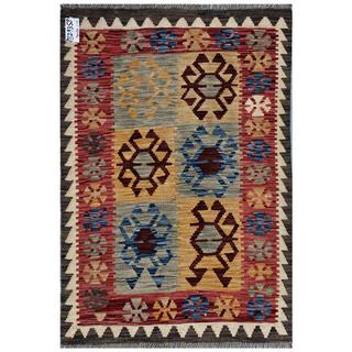 Afghan Hand-woven Kilim Red/ Grey Wool Rug (3'3 x 6'7)