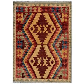 Afghan Hand-woven Kilim Red/ Green Wool Rug (2'11 x 4')