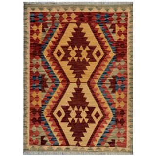 Afghan Hand-woven Kilim Red/ Green Wool Rug (2'11 x 4')