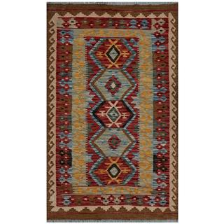 Afghan Hand-woven Kilim Red/ Brown Wool Rug (3' x 5')