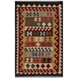Herat Oriental Afghan Hand-woven Kilim Gold/ Grey Wool Rug (3'2 x 5')