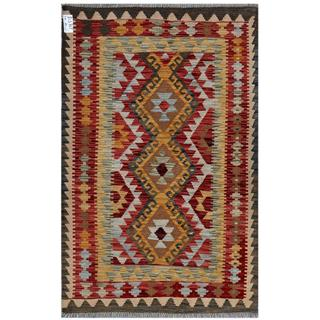Afghan Hand-woven Kilim Red/ Green Wool Rug (3'3 x 5')