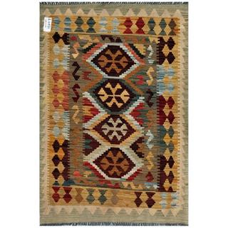Afghan Hand-woven Kilim Brown/ Green Wool Rug (3'3 x 4'9)