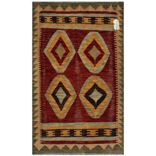 Afghan Hand-woven Kilim Red/ Beige Wool Rug (2'10 x 4'10)
