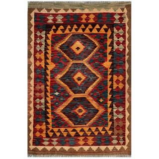Afghan Hand-woven Kilim Red/ Brown Wool Rug (2'10 x 4'3)