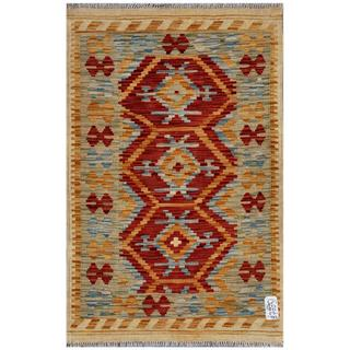 Afghan Hand-woven Kilim Red/ Gold Wool Rug (2'8 x 4'3)
