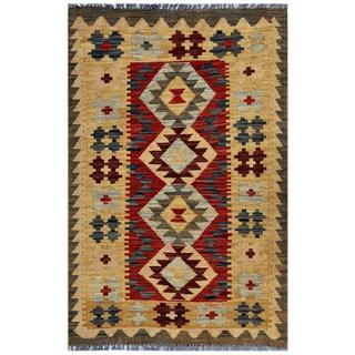 Afghan Hand-woven Kilim Red/ Beige Wool Rug (2'7 x 3'11)