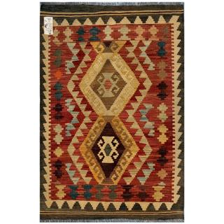 Afghan Hand-woven Kilim Red/ Gold Wool Rug (2'7 x 3'10)