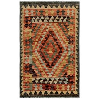 Afghan Hand-woven Kilim Red/ Green Wool Rug (2'9 x 4'4)