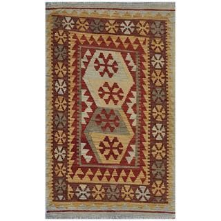 Afghan Hand-woven Kilim Red/ Gold Wool Rug (2'8 x 4'5)