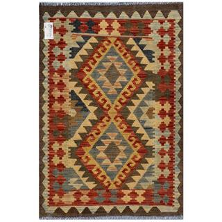 Afghan Hand-woven Kilim Red/ Blue Wool Rug (2'8 x 3'11)