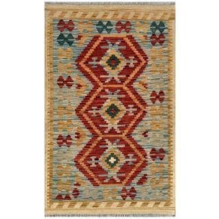 Afghan Hand-woven Kilim Red/ Blue Wool Rug (2'8 x 4'2)