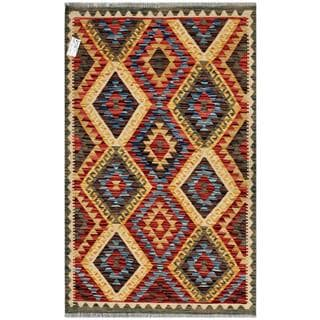 Afghan Hand-woven Kilim Gold/ Red Wool Rug (3'7 x 5'1)