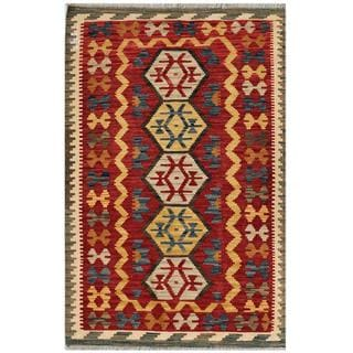 Afghan Hand-woven Kilim Red/ Gold Wool Rug (3'3 x 4'11)