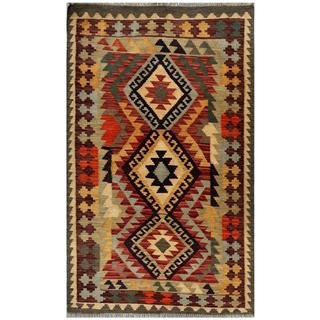 Afghan Hand-woven Kilim Red/ Green Wool Rug (3' x 5'1)