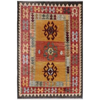 Afghan Hand-woven Kilim Red/ Gold Wool Rug (3'5 x 5'1)