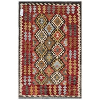 Afghan Hand-woven Kilim Red/ Ivory Wool Rug (3'6 x 5'3)