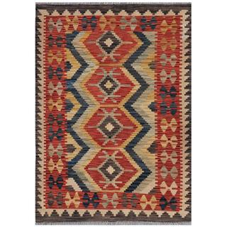 Afghan Hand-woven Kilim Red/ Grey Wool Rug (3'7 x 4'11)
