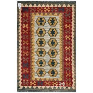 Afghan Hand-woven Kilim Light Blue/ Red Wool Rug (3'2 x 4'11)