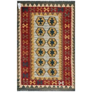 Afghan Hand-woven Kilim Light Blue/ Red Wool Rug (3'2 x 4'11)
