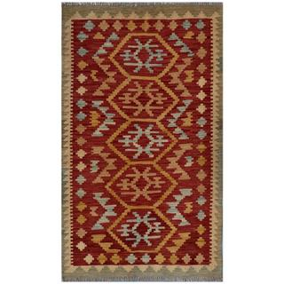 Afghan Hand-woven Kilim Red/ Tan Wool Rug (3'1 x 4'11)