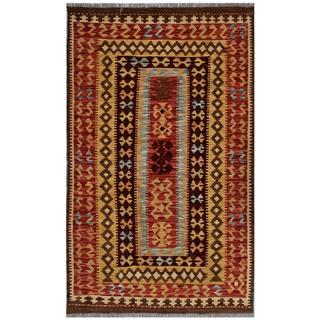 Afghan Hand-woven Kilim Red/ Gold Wool Rug (3' x 4'10)