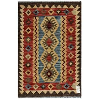 Afghan Hand-woven Kilim Blue/ Red Wool Rug (2'7 x 4')