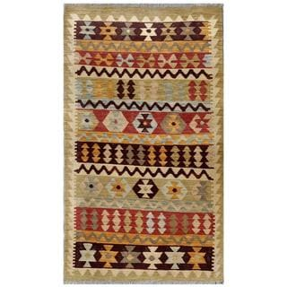 Afghan Hand-woven Kilim Tan/ Brown Wool Rug (2'7 x 4'10)